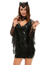Anime Costumes AF-S2-642989 Black Vampire Bat Costume Halloween Sexy Women's V-neck PU Semi-sheer Demon Costume Outfit