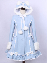Lolitashow Hooded Lolita Coat Sweet Ruffles Pom Poms Wool Overcoat Bows Long Sleeve Winter Cute Lolita Outwear