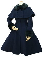 Lolitashow Dolce Lolita Cappotto lana nera Turndown collo manica lunga Slim Fit Lolita staccabile del capo cappotto