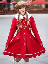 Lolitashow Red Lolita Coat Cashmere Flare Sweet Lolita Overcoat Fur Collar Long Sleeve Lace Up Winter Lolita Coat