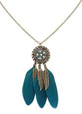 Boho Necklace Feather Fringe Alloy Flower Pendant Necklace For Women
