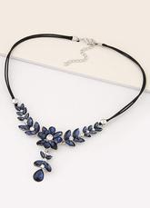 Синий короткое ожерелье элегантный горный хрусталь цветок Y ожерелье для женщин