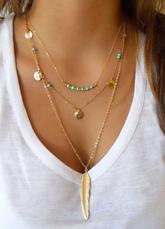 Boho Women Necklace Leaf Gem Layered Golden Necklace