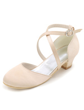 Champagne Flower Girl Pumps Satin Shoes Criss Cross Chunky Heel Wedding Shoes For Flower Girl