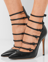 Women's Black Pumps Strappy Stiletto Party Shoes Handmade Pointed Toe High Heels