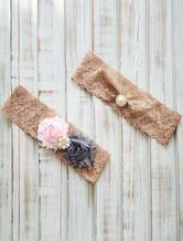 Light Brown Wedding Garter Flowers Pearls Beading Lace Bridal Garter
