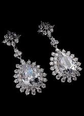 Silver Drop Earrings Alloy Rhinestone Round Brilliant Wedding Earrings