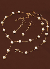 Wedding Jewelry Set Pearl Necklace With Bracelet And Earring Gold Bridal Accessories In 3 Piece