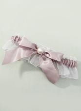 Flesh Bridal Garter Organza Pearl Satin Wedding Garter With Bow