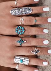 Silver Boho Rings Women's Alloy Vintage Rings In 9 Piece Set