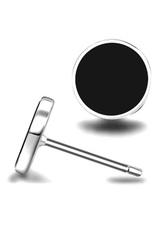 Silver Stud Earrings Men's Stainless Steel Round Fashion Earrings