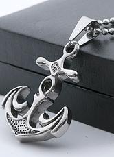 Silver Dangle Earrings Men's Punk Boat Anchor Stainless Steel Pendant Earrings