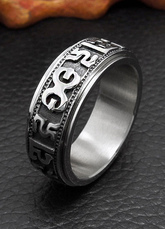 White Stainless Steel Ring Men's Rings Jewelry