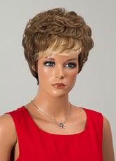 Anime Costumes AF-S2-646549 Short Curly Wigs Tan Tousled Human Hair Wigs For Women