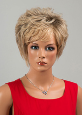 Anime Costumes AF-S2-646557 Tousled Short Wigs Curly Hair Extension Women's Human Hair Wigs In Deep Apricot