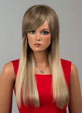 Anime Costumes AF-S2-646567 Human Hair Wigs Women's Long Straight Side Swept Bang Hair Extensions In Deep Apricot
