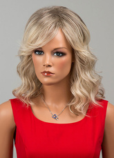 Anime Costumes AF-S2-646569 Long Curly Wigs Side Swept Tousled Human Hair Wigs For Women