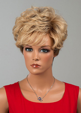 Anime Costumes AF-S2-646563 Short Curly Wigs Tousled Human Hair Wigs For Women