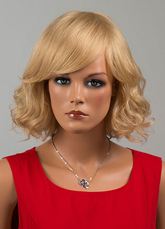 Anime Costumes AF-S2-646561 Blond Curly Wigs Tousled Human Hair Wigs With Side Swept Bang For Women