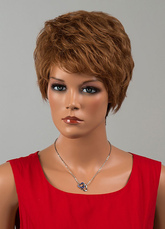 Anime Costumes AF-S2-646559 Light Brown Wigs Short Layered Human Hair Wigs For Women