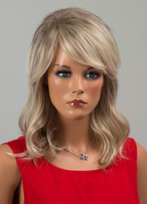 Anime Costumes AF-S2-646667 Human Hair Wigs Long Curly Side Swept Bang Layered Women's Wigs