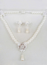 Pearl Wedding Jewelry Vintage Bridal Necklace Set With Rhinestone Dangle Earrings