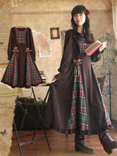 Lolitashow Classical Lolita Dress OP Plaid Ruffles Mori Girl Dress In Long Sleeve