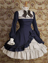 Classic Lolita Dress OP Stand Collar Irregular Ruffles Bow Dress In Deep Blue