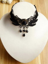 Lolitashow Gothic Lolita Necklace Black Chokers Lace Short Lolita Accessories