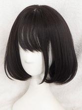 Parrucche Lolita breve taglio di capelli di Kawaii dritto Rinka con Bang In nero opaco