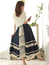 Lolitashow Sweet Lolita Skirt SK Lace Trim Cotton Mori Girl Overskirt In Deep Blue