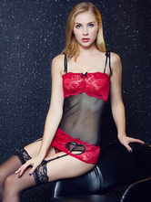 Sexy Lace Chemises Sheer Women's Heart Cut Thigh Stockings Lingerie Set In 3 Pcs