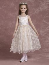 Шампанское цветок девочки платья спагетти ремень кружева Pageant платья малыша чай длина аппликация формальных платья с лентой створки