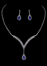 Wedding Jewelry Set Vintage Bridal Rhinestone Pendant Necklace With Drop Earring