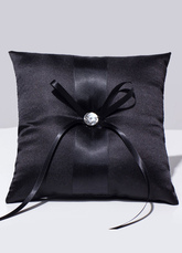 Ring Bearer Pillow Black Rhinestone Beaded Satin Wedding Pillow With Ribbons Bow