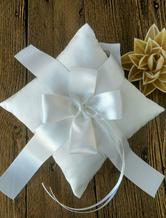 Ring Bearer Pillow Ivory Satin Ribbons Cross Knot Wedding Pillow