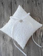 Ring Bearer Pillow Satin Ivory Rhinestone Ribbon Bow Detail Wedding Pillow