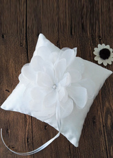 Ring Bearer Pillow Ivory Flower Ribbon Detail Satin Wedding Pillow