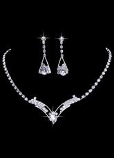 5d99e8abee79 Joya 2019 Boda Vintage joyas plata collar nupcial conjunto con pendientes  de diamantes de imitación