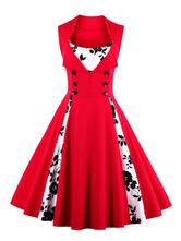 Rot mit Printmuster 50er jahre mode ärmellos viereckiger Ausschnitt gemischten Baumwollen und Fashion & Moden