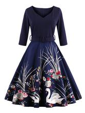 Burgundy Vintage Dress V Neck 3/4 Length Sleeve Floral Printed Slim Fit Pleated Skater Dress