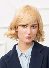 Anime Costumes AF-S2-650549 Human Hair Wigs Blonde Side Bangs Layered Short Curly Hair Wigs