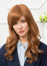 Anime Costumes AF-S2-650553 Human Hair Wigs Blonde Side Bangs Tousled Long Curly Hair Wigs For Women