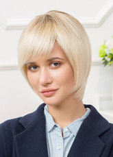 Anime Costumes AF-S2-651801 Human Hair Wigs Short Women's Apricot Side Swept Bob Wig