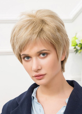 Anime Costumes AF-S2-650563 Human Hair Wigs Women's Blonde Layered Short Hair Wigs