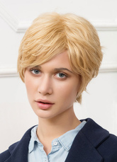 Anime Costumes AF-S2-650559 Human Hair Wigs Blonde Side Swept Bang Layered Short Hair Wigs For Women