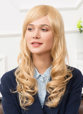 Anime Costumes AF-S2-650547 Human Hair Wigs Blonde Side Bangs Tousled Long Curly Hair Wigs For Women