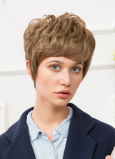 Anime Costumes AF-S2-651799 Human Hair Wigs Short Women's Layered Tan Curly Wigs With Heavy Bangs