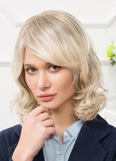 Anime Costumes AF-S2-651791 Curly Human Hair Wigs Medium Side Swept Bangs Women's Hair Wigs In Light Apricot