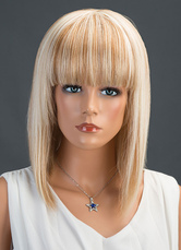 Anime Costumes AF-S2-651789 Deep Apricot Human Hair Wigs Women's Medium Straight Hair Wigs With Blunt Fringe